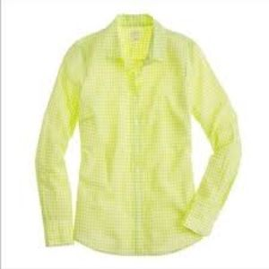 J Crew The Perfect Shirt lime gingham